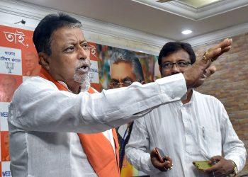 BJP leader Mukul Roy addresses a press meet in Kolkata, Sunday