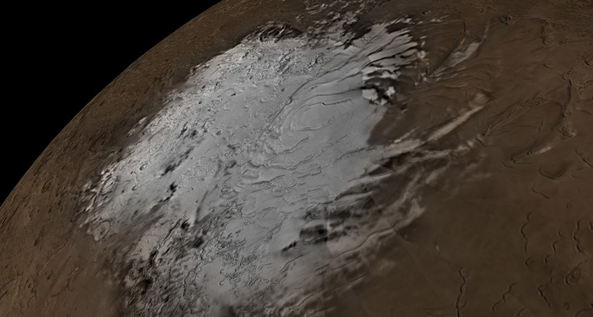 The team from The University of Texas at Austin and the University of Arizona in the US estimate that if melted, the massive ice deposits discovered in this region would cover the planet in 1.5 metres of water.