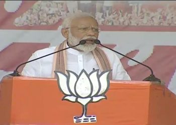 Narendra Modi addressing a rally at Bankura in West Bengal, Thursday Photo@BJP Twitter