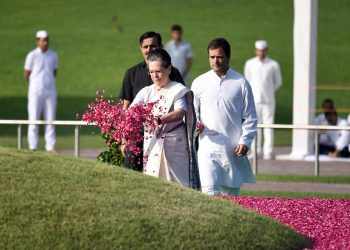 Congress President Rahul Gandhi, UPA Chairperson Sonia Gandhi paid floral tributes to the late leader at the Shanti Van here.
