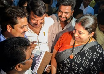 A beaming Smriti Irani with her supporters late Thursday night at Amethi