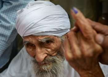 Bachan Singh after casting his vote, Sunday