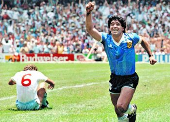 Diego Maradona after scoring against England in the 1986 World Cup