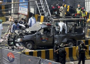 The mangled vehicle of security personnel which took maximum impact of the suicide member attack