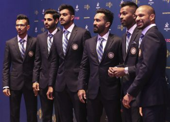 Members of the Indian cricket team at an event in London, Thursday