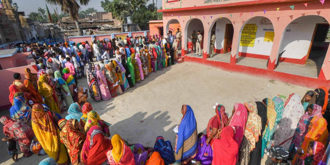 Serpentine queues were noticed at a polling booth in Vaishali constituency of Bihar, Sunday