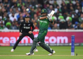 Babar Azam plays a pull shot en route to his century against New Zealand, Wednesday