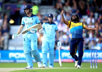 England's Jos Buttler (left) appears dejected after being dismissed by Sri Lanka's Lasith Malinga during the ICC Cricket World Cup group stage match at Headingley, Leeds. (Photo by Tim Goode/PA Images via Getty Images)