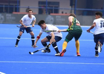 Action during the USA-South Africa game at the Kalinga Stadium, Thursday