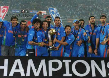 The Indian team after winning the title in 2011