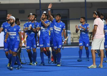 Indian players acknowledge the applause of the crowd after their thumping win against Russia, Thursday