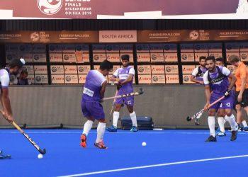 Indian players go through their training drills at the Kalinga Stadium in Bhubaneswar, Thursday