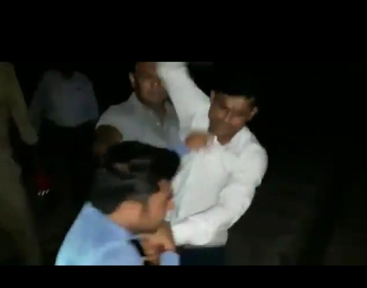 GRP personnel who were present on the spot, abused, kicked and beat up Amit Sharma of News 24. They snatched his camera. (Photo: IANS)