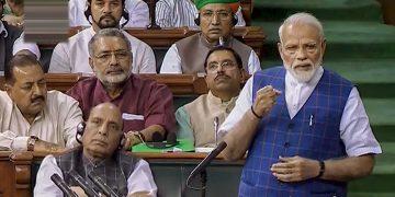 Prime Minister Narendra Modi addresses the Lok Sabha members, Tuesday