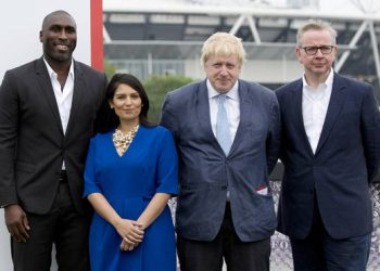 Priti Patel (2nd from left) and Boris Johnson (2nd from right)