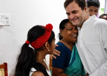 The Gandhi scion hugged her and held her hand when Vavathil and her family came to meet him at a guest house here in the morning.