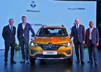 Top officials of the Renault Group (from left) Fabrice Cambolive, Laurens Van Den Acker, Thierry Bollore and Venkatram Mammillapalle at the launch of Triber in New Delhi, Wednesday