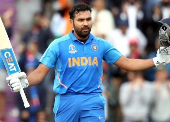 Rohit Sharma acknowledges the applause after reaching the three-figure mark against South Africa, Wednesday