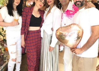 Hindi film celebrities descended at her residence for the occasion.