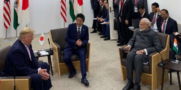 US President Donald Trump, Japanese Prime Minister Shinto Abe and Indian Prime Minister Narendra Modi during their trilateral meeting at Osaka