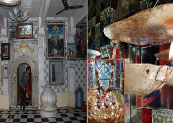 In this temple, a 550 yr old lamp releases saffron instead of soot