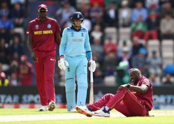 Andre Russell (on ground) has been suffering from a knee injury all through the World Cup