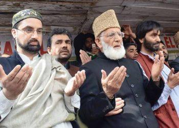 Separatists Mirwaiz Umar Farooq (left) and Syed Ali Shah Geelani (centre).