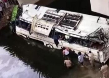 he double-decker bus with about 50 passengers on board was heading to Delhi from Lucknow.