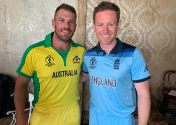 Australian captain Aaron Finch with his English counterpart Eoin Morgan.