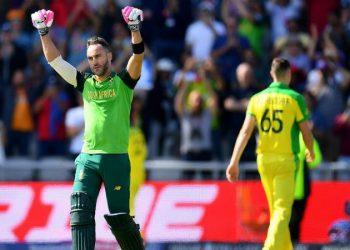 Faf du Plessis celebrates after reaching his century against Australia