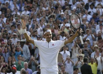 Roger Federer after his win over Kei Nishikori at Wimbledon, Wednesday