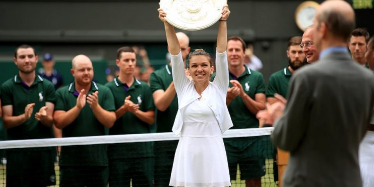 Simona Halep after winning the Wimbledon women's singles title Saturday