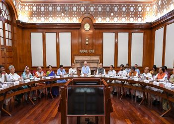 New Delhi: Prime Minister Narendra Modi with Union Ministers Nitin Gadkari, Rajnath Singh, Amit Shah, Nirmala Sitharaman and others during the first cabinet meeting, at the Prime Minister's Office, in South Block, New Delhi, May 31, 2019. (PTI Photo)(PTI5_31_2019_000249B)