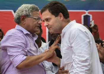 File picture of Rahul Gandhi and Sitaram Yechuri