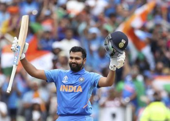 Rohit Sharma acknowledges the applause after reaching the three-figure mark Tuesday against Bangladesh