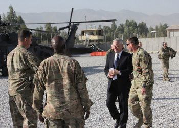 US Defense Secretary Jim Mattis arrives at Forward Operating Base Gamberi east of Kabul, Afghanistan, on an unannounced visit to the war-torn country on September 27, 2017. US Defense Secretary Jim Mattis and NATO chief Jens Stoltenberg renewed their commitment to Afghanistan on September 27, 2017, as insurgents fired rockets that killed one person and wounded 11 in Kabul. Mattis is the first member of US President Donald Trump's cabinet to visit the country since Trump last month pledged to stay the course in America's longest war.