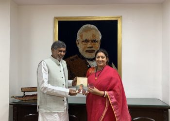 The Union minister posted on Twitter a picture of her and Satyarthi, in which the nobel laureate can be seen presenting his book to her.