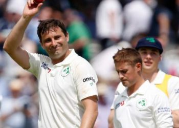 Ireland's Tim Murtagh reacts after England's first innings