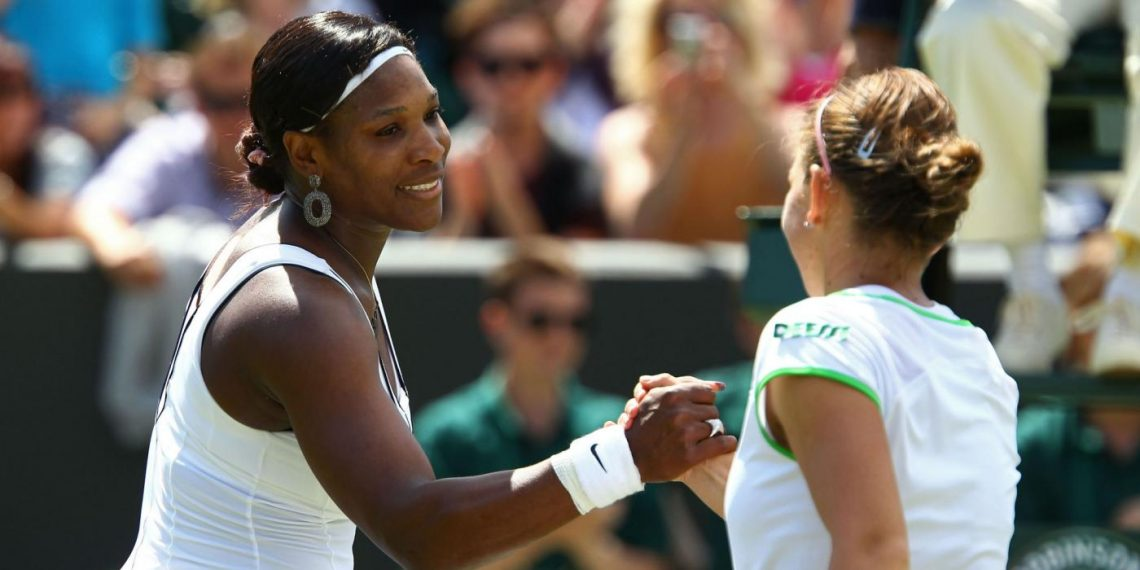 Serena Williams (L) and Simona Halep. File pic