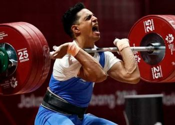 The 22-year-old, who is competing in the 81kg category, also smashed the national record in the clean and jerk event by lifting more than double his body weight (190kg) to score vital points at the Olympic qualifying event.