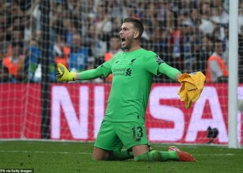 Goalkeeper Adrian of Liverpool celebrates after saving a crucial spot-kick against Chelsea in the Super Cup final, Wednesday