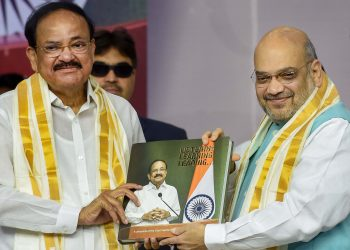 Union Home Minister Amit Shah along with Vice-President M Venkiah Naidu during the book launch programme, Sunday