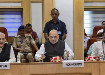 Home Minister Amit Shah, Minister of State G Kishan Reddy and Home Secretary Ajay Kumar Bhalla (L) during the review meeting, Monday