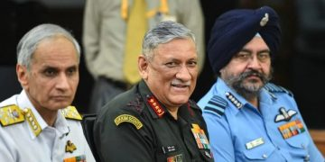 File photo: Chief of Naval Staff Admiral Karambir Singh, Chief of Army Staff General Bipin Rawat and Chief of Air Staff Air Chief Marshal Birender Singh Dhanoa