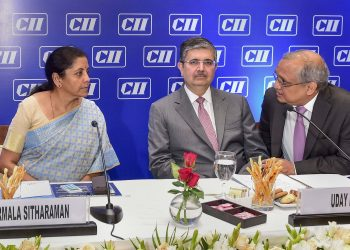 (From left): Nirmala Sitharaman, Uday Kotak and Chandrajit Banerjee