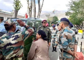Dhoni reached Ladakh Wednesday where he received a warm reception from the Army personnel and interacted with them.