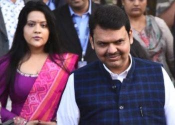 Devendra Fadnavis with wife Amruta. File pic