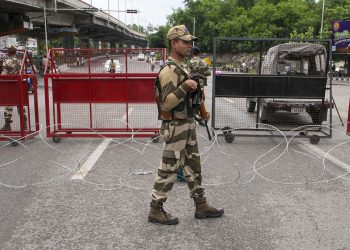 Paramilitary personnel on duty at a locality in Jammu, Wednesday