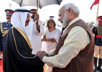 Prime Minister Narendra Modi is greeted by Prince Khalifa Bin Salman Al Khalifa in Bahrain, Saturday