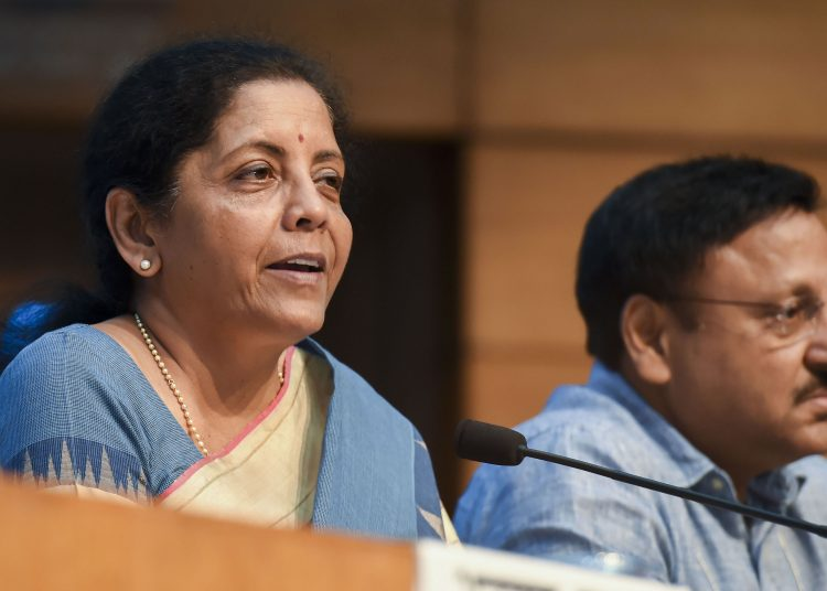 Finance Minister Nirmala Sitharaman with Finance Secretary Rajiv Kumar during the press conference in New Delhi, Friday